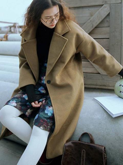 ゆったり全3色ウール無地コート スーツの襟暖かい秋冬アウター