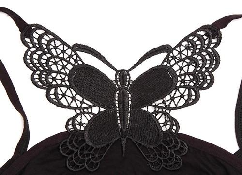 カジュアルにも/ナイトワークにも/ドレスのインナーに☆セクシー背中デザイン蝶々レースデザインキャミソール全2色(黒 白)