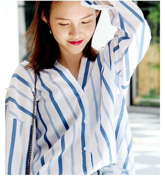 パイピングカフスストライプシャツ☆ゆったり☆ブラウス☆レディース☆ XTAL8494
