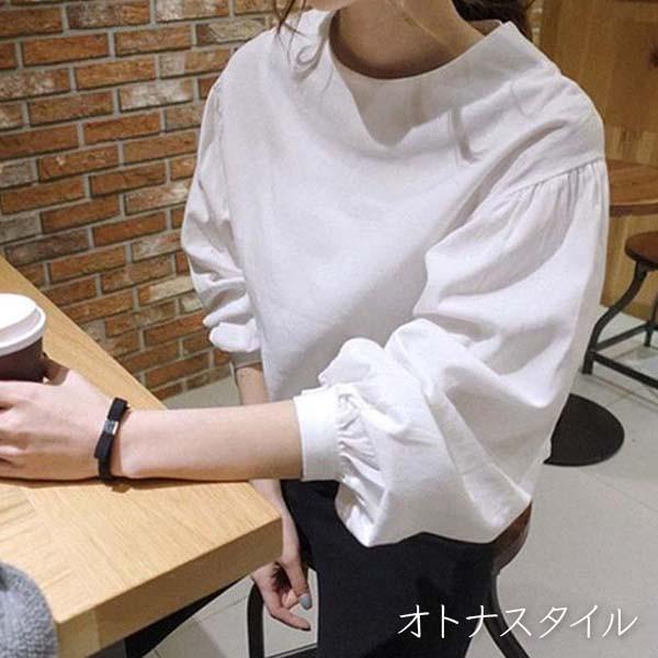 【予約4月中旬発送予定】ビッグ パフスリーブ カットソー 白 ホワイト シャツ uvカット コットン