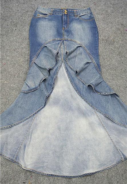 欧米人魚マキシデニムスカート/人魚マーメイドスカート/ロング丈スカート/レディース/美脚タイト/ヘビメタ風