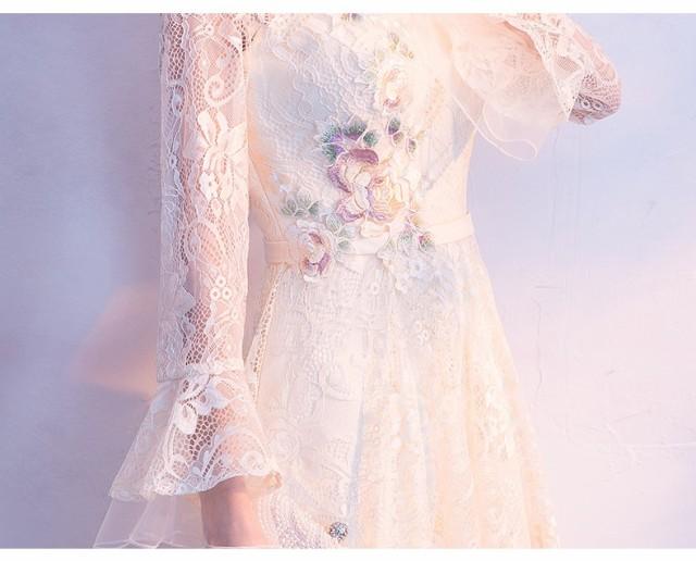 パーティードレス エレガント 立ち襟 Aライン 長袖 刺繍 レース チャイナ風 披露宴 演奏会 司会 ステージ衣装 カラードレス
