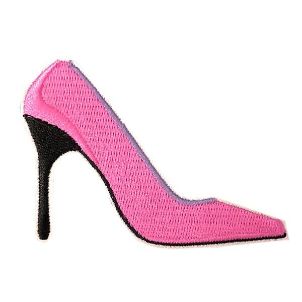 【メール便可】ワッペン アップリケ 刺繍ワッペン アイロン接着 手芸 ハンドメイド 縦5.5cm×横8cm ハイヒール 靴 ヒール ピンク