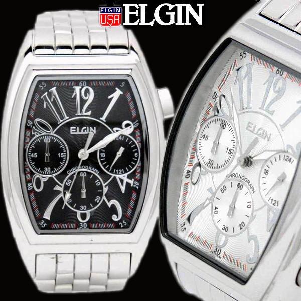 738f689157 ELGIN エルジン/メンズ 腕時計 クロノグラフ 日本製ムーブメント トノー型 ベルト調整具付き
