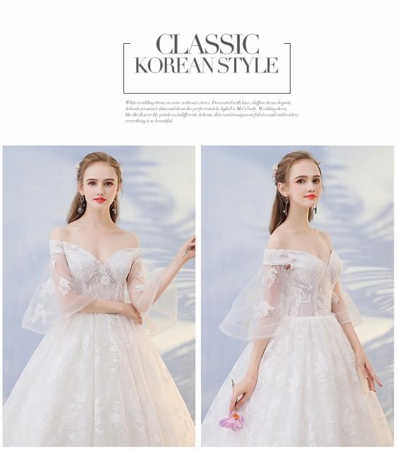 韓流 チュールスカート ウェディングドレス 超人気 刺繍 パーティードレス ロングドレス 発表会 撮影 舞台 編み上げ