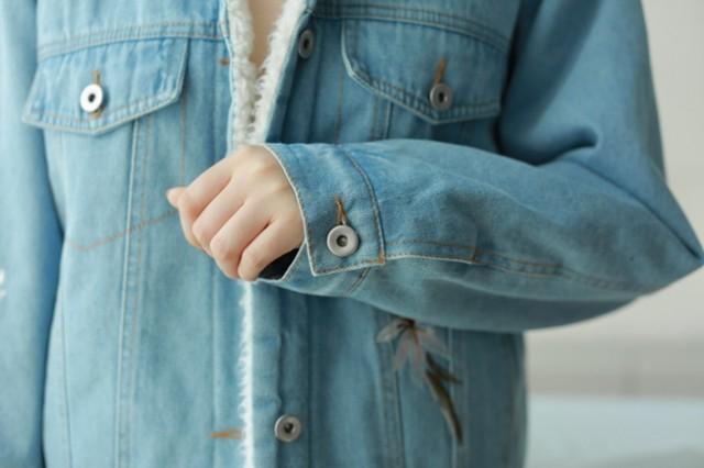 レディース 刺繍デニムジャケット デニムコート ボア付き アウター 厚手 防寒着 デニムジャケッ ジャケット トップス 大人 あったか