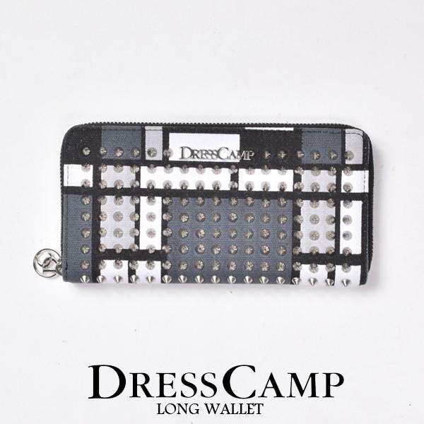【送料無料】財布 長財布 ラウンドジップウォレット DRESS CAMP ドレスキャンプ [DSWR-1601] ミックス モンドリアンパターン スタッズ