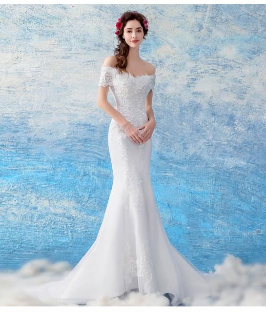 3057dc42009b6 マーメイドラインウエディングドレス オフショルダーロングドレス白ホワイト ウエディングドレス花嫁 結婚式 披露宴