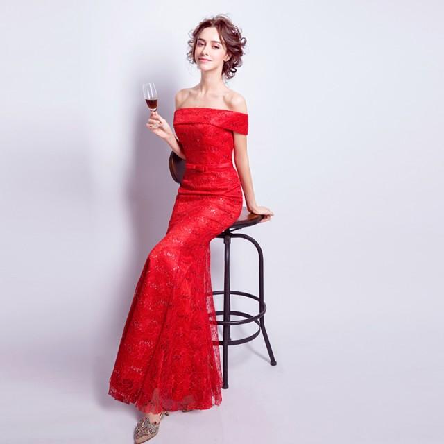 マーメイドライン カラードレス オフショルダー ロングドレス着痩せ 結婚式二次会 披露宴 パーティ 演奏会 発表会カクテルドレス