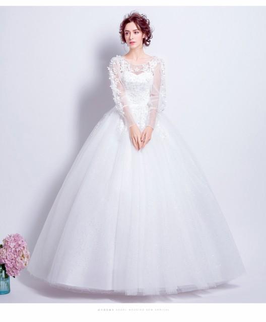 6c099dcee1638 花嫁ドレス ウエディングドレス 披露宴二次会 気質 長袖Aライン ロングドレス ウエディングドレス 白 ドレス