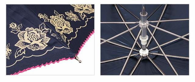 《47cm》晴雨兼用 日傘 UVカット率99% 薔薇柄 レディース かわいい おしゃれ 遮熱 遮光 軽量 スライド式ショートタイプ