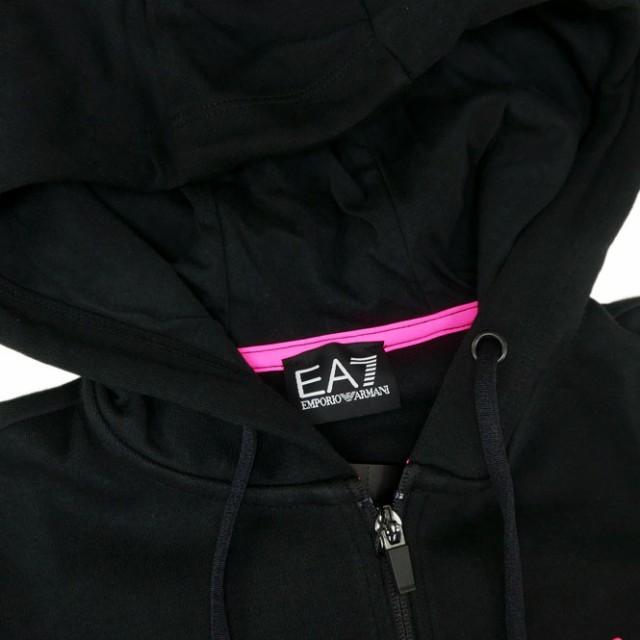 EMPORIO ARMANI エンポリオアルマーニ EA7 レディース長袖ジップアップパーカー 3ZTM72 TJJ5Z ブラック /2018春夏新作