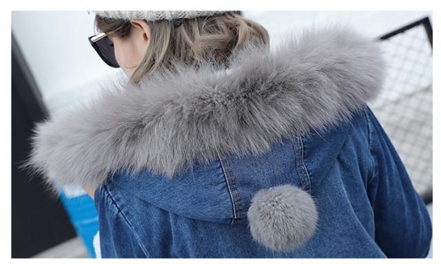 ミディアムデニムコート ロングコート レディースデニムジャケット フード付き ゆったり フェイクファスナー厚手 大きいサイズ 防寒着