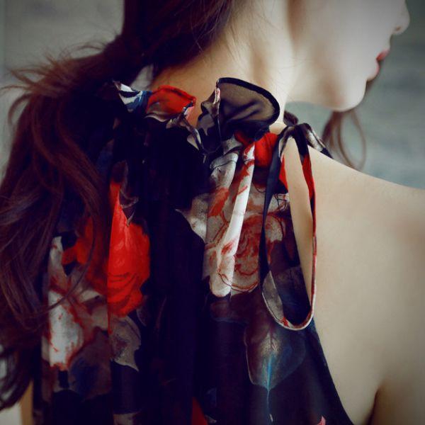 キャバドレス 114B 黒 ブラック 花柄 ミニワンピ ノースリーブ シフォン 新品 送料無料