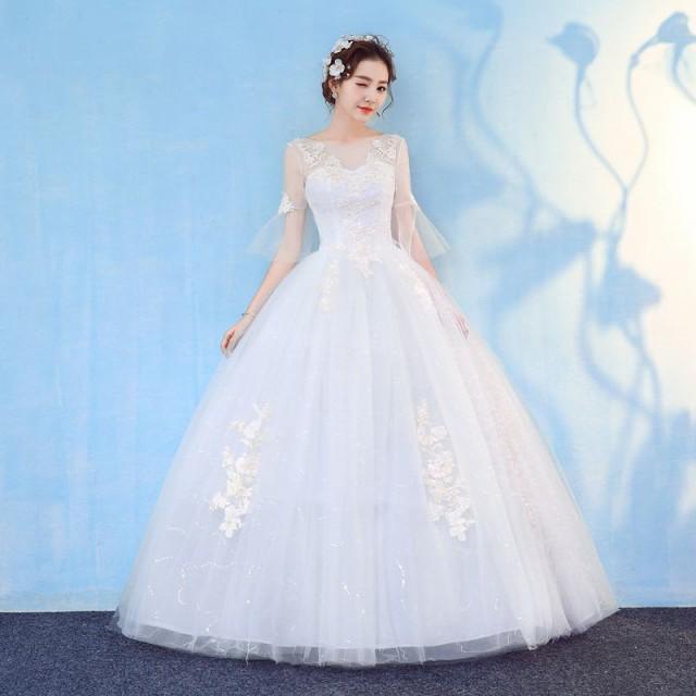 ウエディングドレス パーティードレス 姫様 宮廷風 ロングドレスシンプル二次会結婚式 披露宴 舞台衣装 花嫁