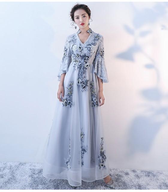 素敵なロングドレス 結婚式ドレス 二次会ドレス 花嫁 パーティドレス 刺繍ドレス成人式 忘年会 披露宴 お呼ばれドレス