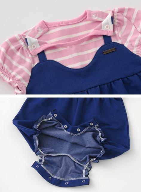 4876deba4196f ボンシュシュ サロペット風半袖カバーオール ベビー服  赤ちゃん  ベビー ...