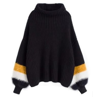 セーター ニット タートルネック 長袖 トップス ボーダー フリーサイズ ホワイト ブラック イエロー 白 黒 黄色