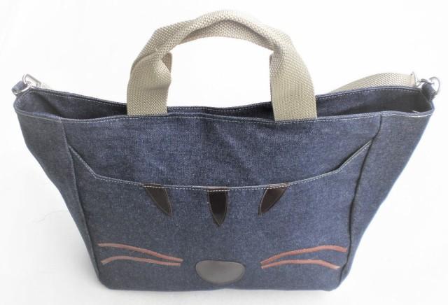【送料無料】トートバッグ 大きめ 2way デニム トラ猫 猫柄 ショルダーバッグ 袋物 猫 グッズ 雑貨 かわいい