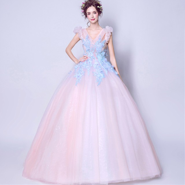 f337d98cb45c2 ロマンチック プリンセスライン ウェディングドレス安いカラードレス結婚式 二次会 花嫁パーティードレス 披露宴 ロング