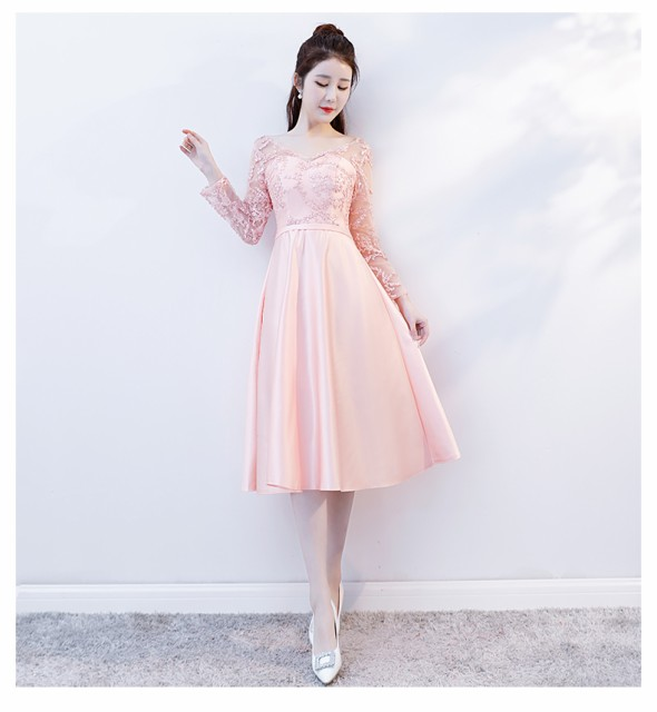 f6b9c06468622 韓国風パーティドレス長袖 ミモレ丈 花嫁二次会 ウェディングドレス ミニ カラードレス 結婚式