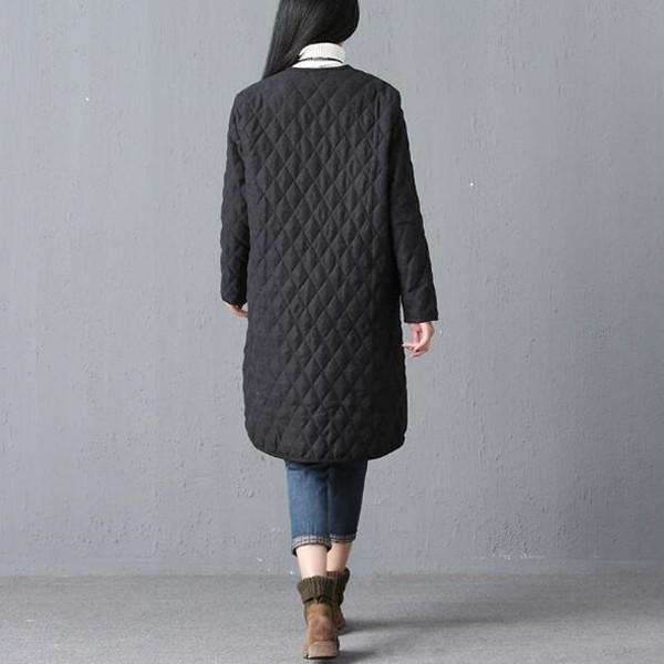 コート キルティング レディース ノーカラーコート ロング丈 アウター トップス ジャケット ゆったり 大きいサイズ