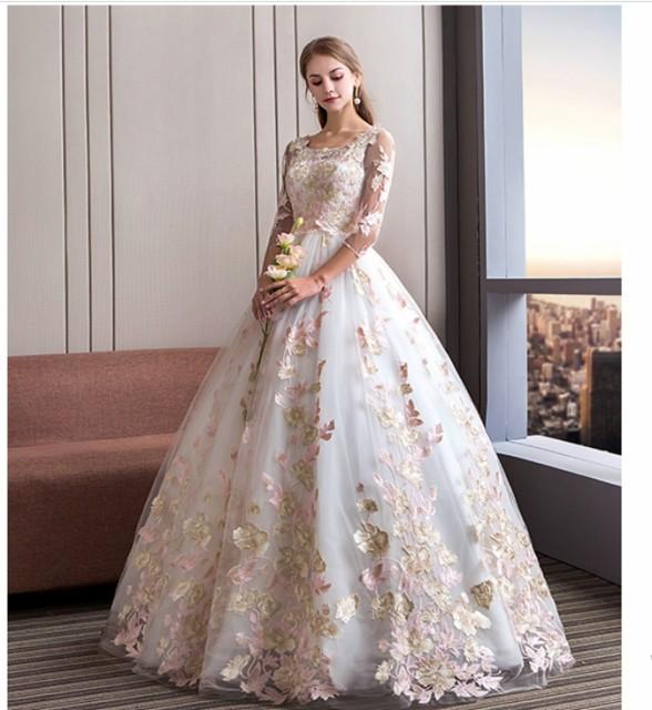 花柄ドレス 豪華なウェディングドレス パーティードレス ロングドレス 舞台 結婚式 演奏会 編み上げ 妊娠でもOK 4点セット 新作20代30代