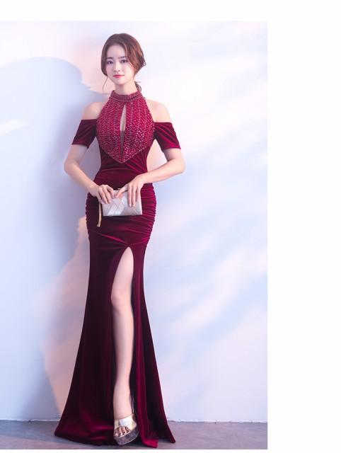 キャバドレス セクシー ロングドレス スリット パーティドレス  着痩せ 司会者 年会 お呼ばれ イブニングドレス