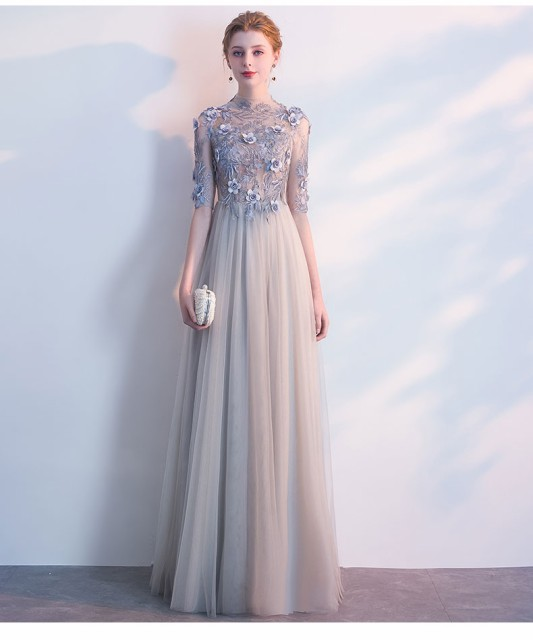 fc6257d8ad9fc 復古調 パーティドレス ロングドレス ワンピース ナイトドレス チュールスカート 5分袖 グレー 結婚