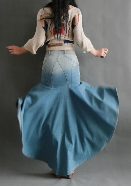 レディース 人魚 マーメイドスカート マキシデニムスカート ロング丈 美脚 足が長く見える綺麗なジーンズ シルエット パーティードレス