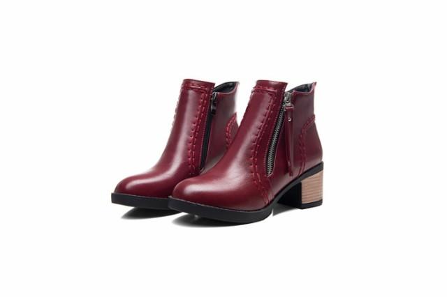 ブーツ レディース ショートブーツ シンプル シューズ ミドルヒール 太ヒール カジュアル 美脚 秋冬 無地 お呼ばれ トレンド ショート靴