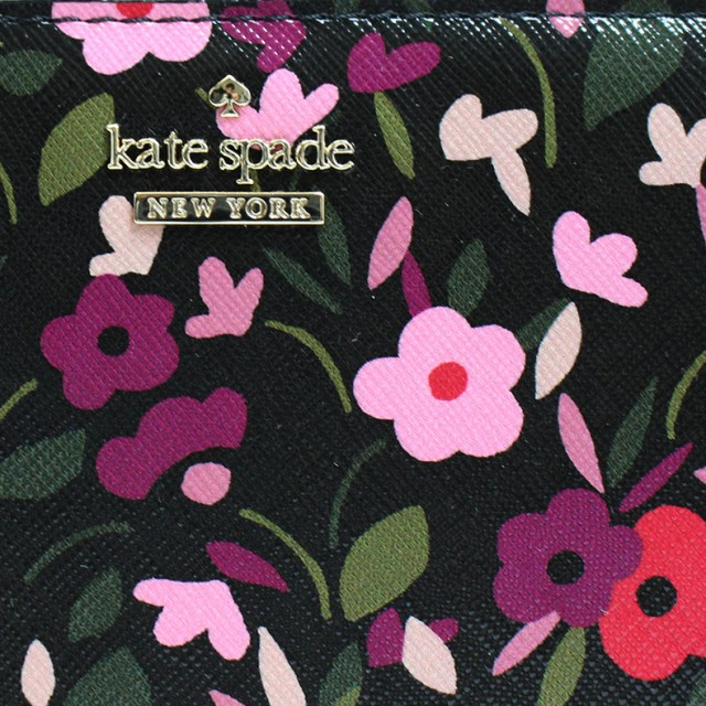 ケイトスペード KATESPADE 財布 長財布 ブラック マルチカラー ラウンド PVC レイシー LACEY pwru5841-098