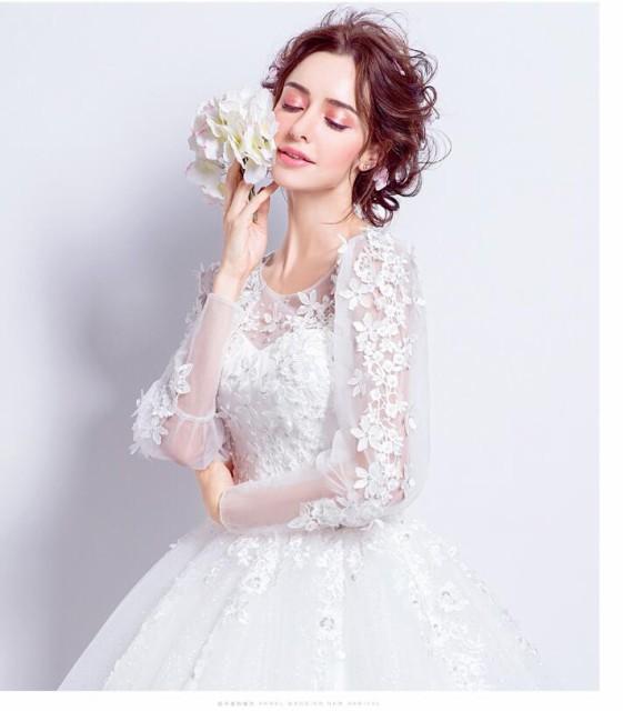 5f25308022bfa 花嫁ドレス ウエディングドレス 披露宴二次会 気質 長袖Aライン ロングドレス ウエディングドレス 白 ドレス