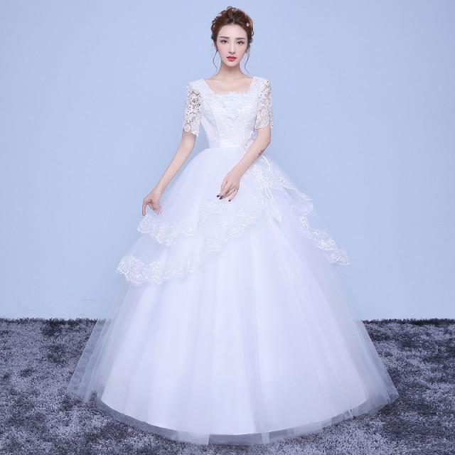 d4f37c867cbf4 ウェディングドレス 安い 結婚式 花嫁 二次会 パーティードレス 韓国風 半袖 Aライン マタニティウエディング