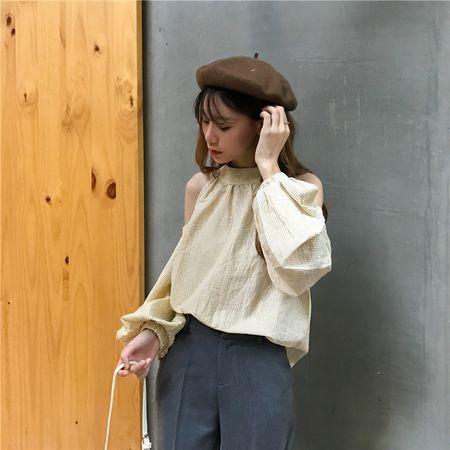 肩見せ ふんわり袖 シャツブラウス スリーブスリット バルーン袖 袖コンシャス かわいい シャツ ブラウス