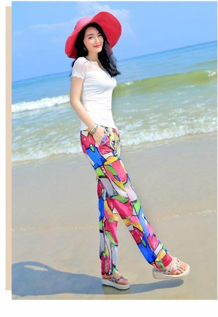さらりと穿けるイージーリラックスパンツ♪幾何学柄ロングパンツ 【春】【夏】