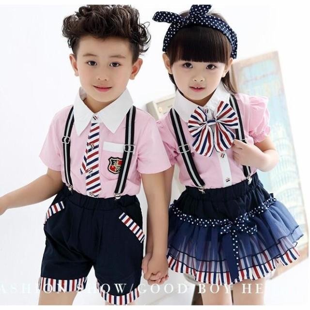 acbf5816f93ae イギリス風子供半袖ワンピース幼稚園服団体服フォーマルショートパンツ 男の子女の子ジュニア