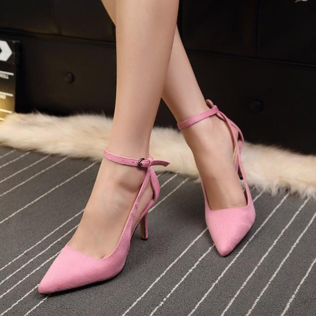 美脚パンプス アンクルストラップ ヒール8cm ポインテッドトゥ ピンヒール ハイヒール フォーマル 婦人靴 パーティーdm104