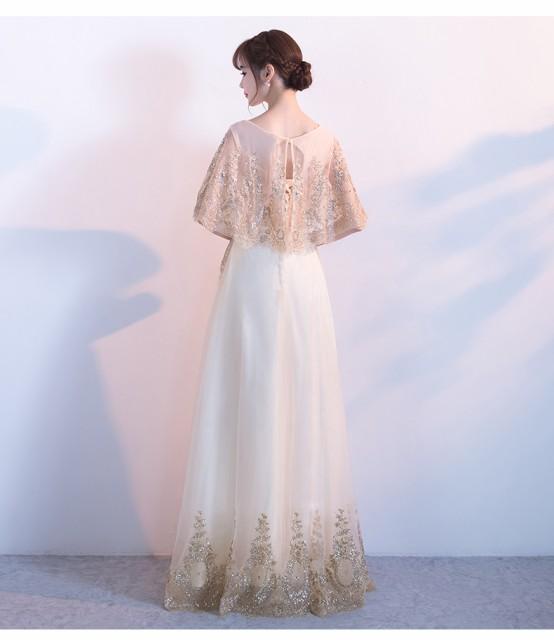 パーティードレス 結婚式 ドレス 二次会 ウェディングドレス 花嫁 披露宴ピカピカ 袖あり