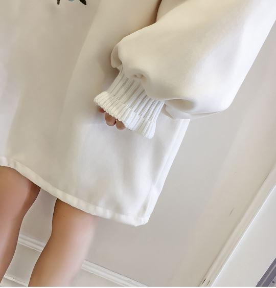 ゆったり チュニックワンピース 美しい刺繍入り オフホワイト Mサイズ