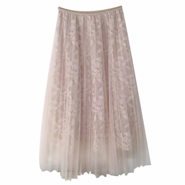 揺れるプリーツが爽やかな春色シフォンスカート