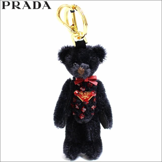 プラダ PRADA キーホルダー キーリング テディベア スワロフスキー ロゴ アウトレット レディース ブランド 1to002-teddy-nero
