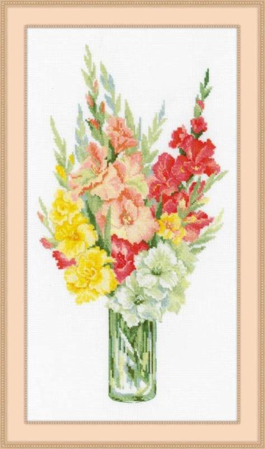 RIOLISクロスステッチ刺繍キット No.1446 「Bouquet of Gladioli」 (グラジオラスの花束 ブーケ)