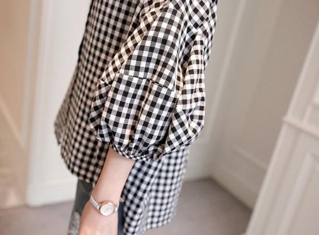トップス ブラウス ギンガムチェック 白黒 デザイン袖 0889