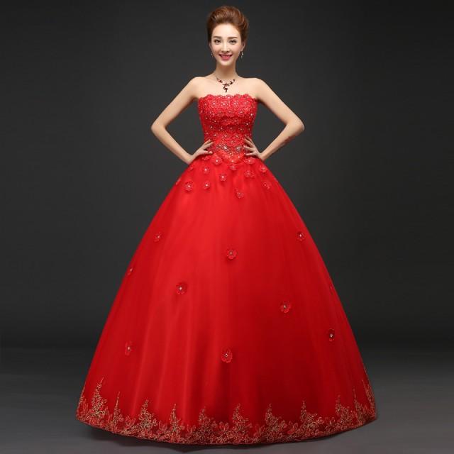 f543a6af03170 ウェディングドレス 安い カラードレス レッド 結婚式 二次会 披露宴 ロング ドレス 演奏会 発表会