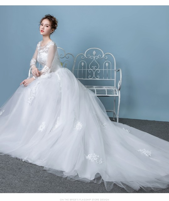 d1282fc85a9da ラグジュアリー トレーン ウエディングドレス 花嫁 結婚式 長袖 韓国風 プリンセスライン ウエディングドレス 披露宴 演奏