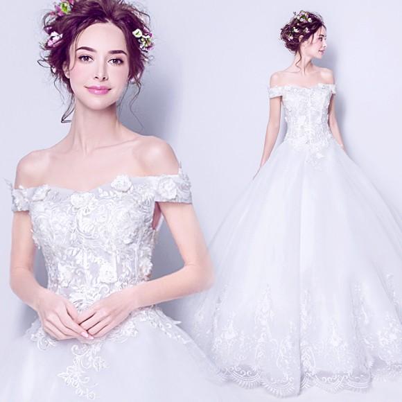 3ab477fdda25e プリンセスライン花嫁ウェディングドレス エンパイア二次会ドレス シンプル オフショルダー ホワイト結婚式 披露宴 演奏