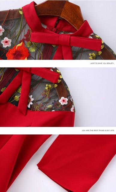 パーティードレス 韓国ワンピース リボン 花柄刺繍 お呼ばれ 結婚式 二次会 食事会