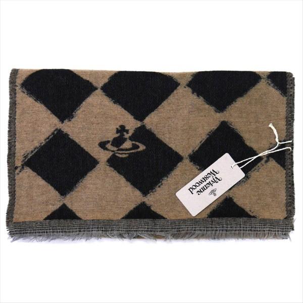 ヴィヴィアン・ウエストウッド マフラー Vivienne Westwood コレクション ウール100% BLACK BEIGE系 10069-PL-N206