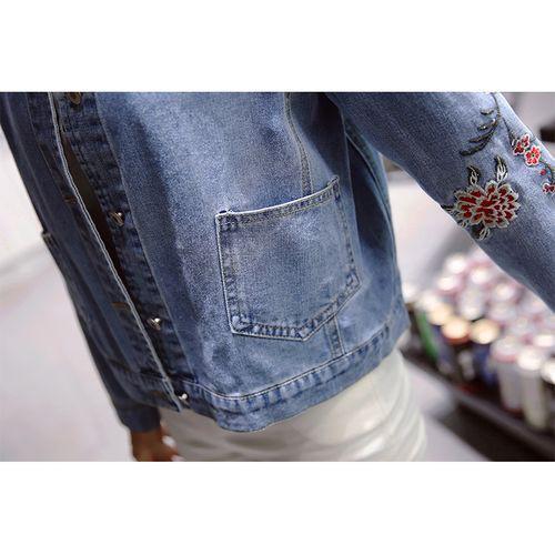 フラワー刺繍 デニムジャケット Gジャン デニム 刺繍 大人 カジュアル フェミニン レトロ コンパクト